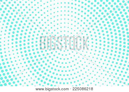 Blue White Dotted Halftone. Half Tone Vector Background. Faded Rough Dotted Gradient. Abstract Futur