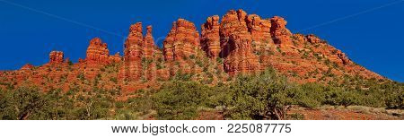 A closeup panorama of the rock formation in Sedona Arizona known as the Cockscomb.