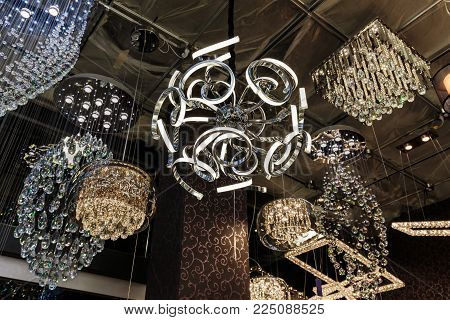 Toronto, Ontario, Vaughan, Canada, Home improvement center, Dec. 9, 2017, closeup view of various beautiful, luxury stylish interior decorative ceiling lights on dark background