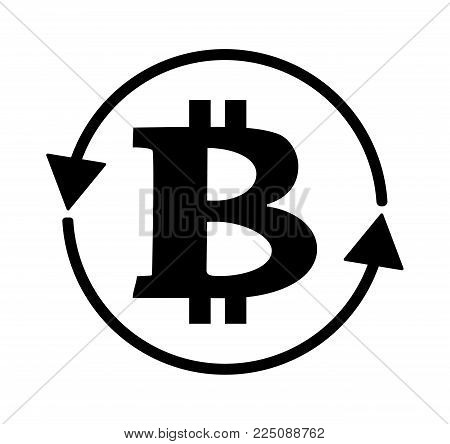 Bitcoin logo sign icon for internet money. Crypto currency coin symbol for using in web projects or mobile applications. Circle arrow around coin, exchange illustration