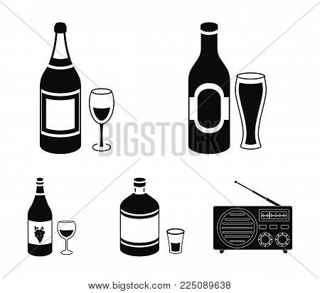 Beer, champagne, white wine, absinthe, Alcohol set collection icons in black style vector symbol stock illustration .