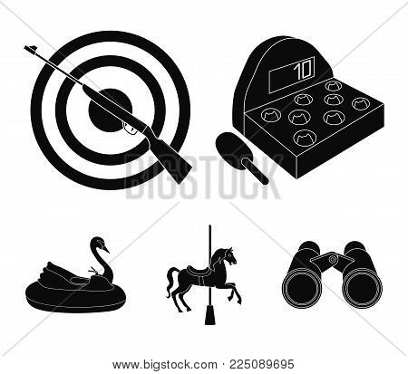 A game with a bat, a target with a gun, a horse on a carousel, a swan attraction. Amusement park set collection icons in black style vector symbol stock illustration .