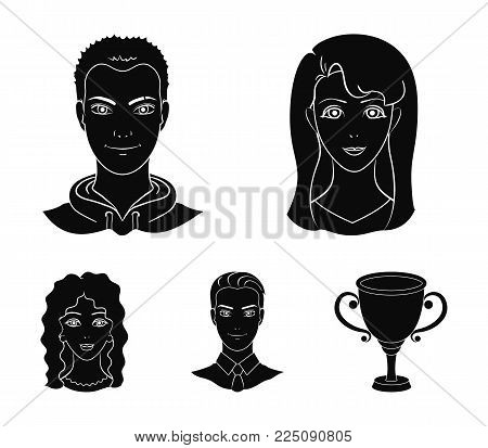Different looks of young people.Avatar and face set collection icons in black style vector symbol stock illustration .