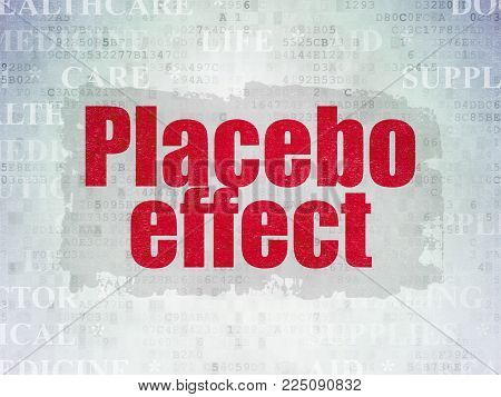Medicine concept: Painted red text Placebo Effect on Digital Data Paper background with   Tag Cloud
