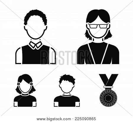 Red-haired boy, teen girl, grandmother wearing glasses.Avatar set collection icons in black style vector symbol stock illustration .