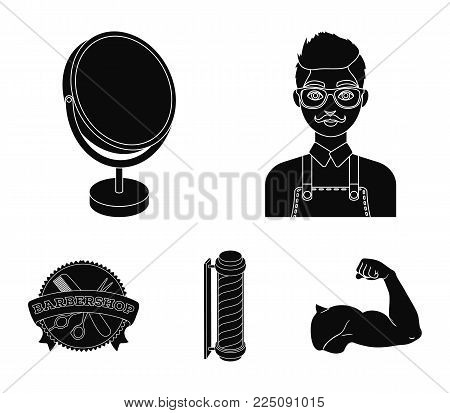 Male hairdresser, sign, mirror and other equipment for a hairdresser.Barbershop set collection icons in black style vector symbol stock illustration .