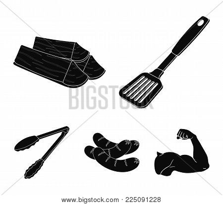 Blade kitchen, firewood, sausages and other for barbecue.BBQ set collection icons in black style vector symbol stock illustration .