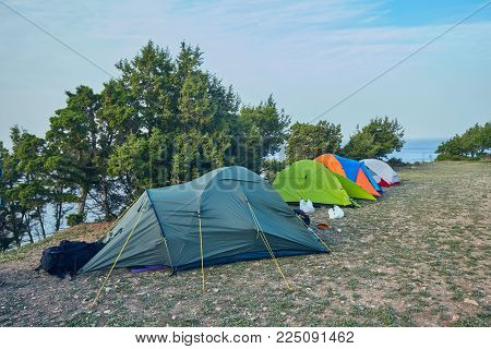 The campsite of tourists on the beach