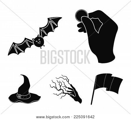Focus with a coin, a bat, a mage's hat, a lightning-fast spell.Black and white magic set collection icons in black style vector symbol stock illustration .