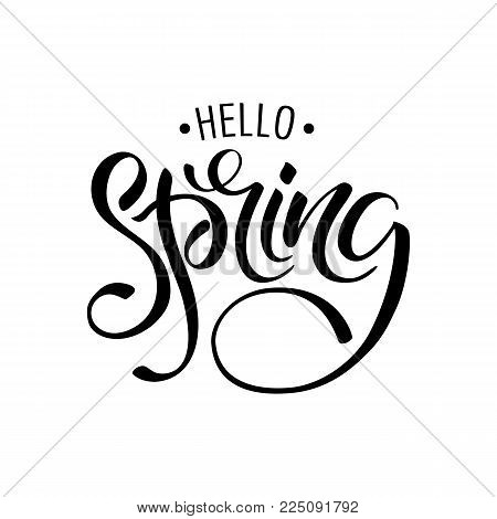 Lettering Of Brush Hello Spring You Can Use In Yuor Disign, Print Posters, Cards And Promotional Ite