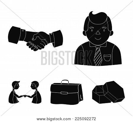 Businessman, handshake, portfolio, agreement.Business-conference and negotiations set collection icons in black style vector symbol stock illustration .