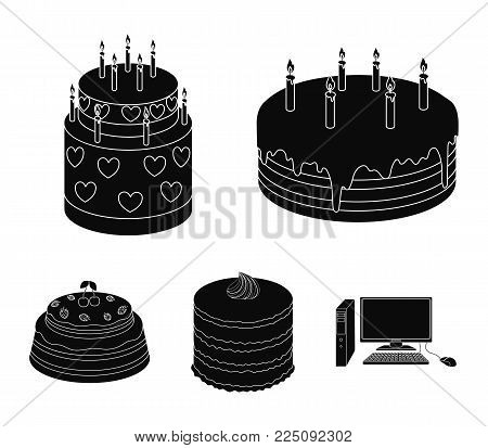 Sweetness, dessert, cream, treacle .Cakes country set collection icons in black style vector symbol stock illustration .