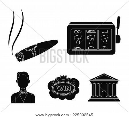 A gaming machine a one-armed bandit, a cigar with smoke, a five-star hotel sign, a dilettante in a vest. Casinos and gambling set collection icons in black style vector symbol stock illustration web.