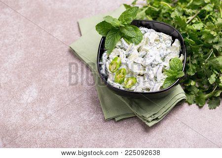 Indian Cucumber Raita With Yoghurt, Mint, Cilantro. Greek Tzatziki Sauce
