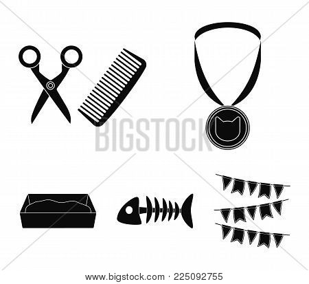 Medal on the ribbon, haircut for the cat, fish bone, a tray with sand.Cat set collection icons in black style vector symbol stock illustration .