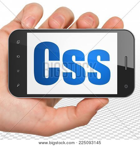 Database concept: Hand Holding Smartphone with blue text Css on display, 3D rendering
