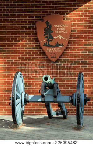 YORKTOWN, VA - OCTOBER 7: The Yorktown Battlefield visitor center provides orientation on touring one of the most important Revolutionary War battlegrounds in the U.S. October 7, 2017 in Yorktown, VA