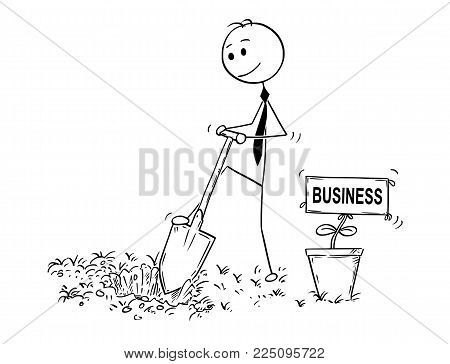 Cartoon stick man drawing conceptual illustration of businessman digging hole to plant a tree with business sign as flower. Concept of investment, growth and success.