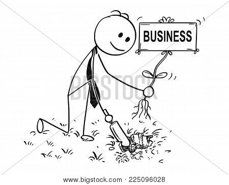 Cartoon stick man drawing conceptual illustration of businessman digging hole with small shovel to plant a tree with business sign as flower. Concept of investment, growth and success.