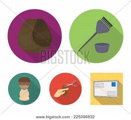 Brush for painting hBrush for painting hair, curl, hand-made hair, shaving brush. Hairdresserair, curl, hand-made hair, shaving brush. Hairdresser set collection icons in flat style vector symbol stock illustration .