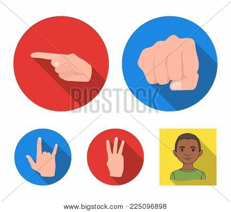 Closed fist, index, and other gestures. Hand gestures set collection icons in flat style vector symbol stock illustration .