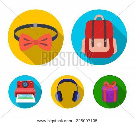 Hipster, fashion, style, subculture .Hipster style set collection icons in flat style vector symbol stock illustration .