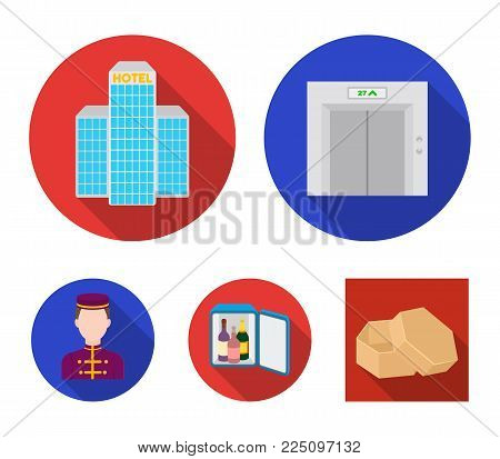 Elevator car, mini bar, staff, building.Hotel set collection icons in flat style vector symbol stock illustration web.