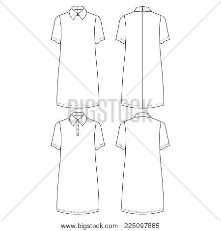 Technical drawing sketch vector illustration of tunic cut dress and pollo dress with short sleeve and classic shirt neck.