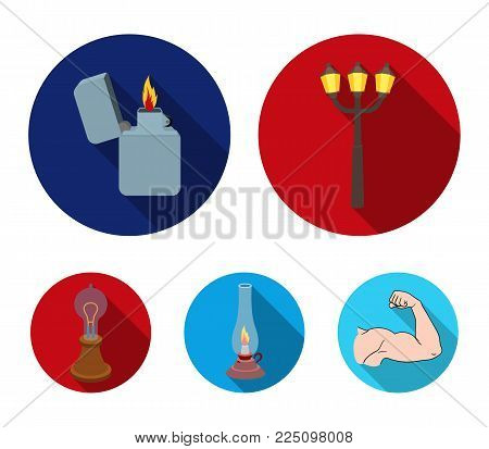 Street lamp, lighter, kerosene lamp, lamp of Edison.Light source set collection icons in flat style vector symbol stock illustration .