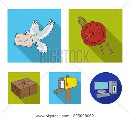 Wax seal, postal pigeon with envelope, mail box and parcel.Mail and postman set collection icons in flat style vector symbol stock illustration .
