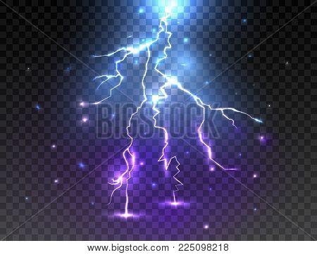 Realistic lightning on transparent background. Glowing effect. Thunder bolt design. Vector illustration.