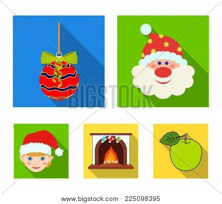 Santa Claus, dwarf, fireplace and decoration flat icons in set collection for design. Christmas vector symbol stock  illustration.
