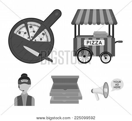 Mobile trailer, cutting board for pizza, boxes, salesman. Pizza and pizzeria set collection icons in monochrome style vector symbol stock illustration web.