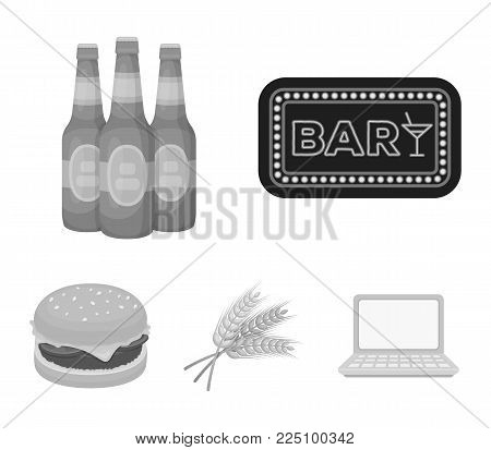 Bar, pub, restaurant, cafe .Pub set collection icons in monochrome style vector symbol stock illustration .
