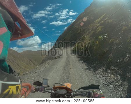 Journey extreme trip with dirtbike in the mountain and blue sky