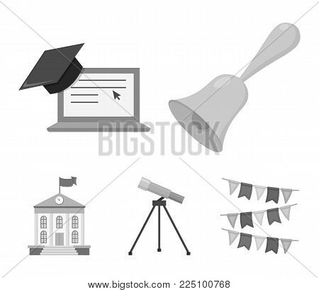 School bell, computer, telescope and school building. School set collection icons in monochrome style vector symbol stock illustration .
