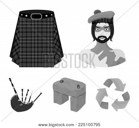 Highlander, Scottish Viking, tartan, kilt, scottish skirt, scone stone, national musical instrument of bagpipes. Scotland set collection icons in monochrome style vector symbol stock illustration .