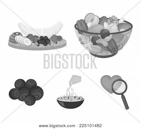 Assorted nuts, fruits and other food. Food set collection icons in monochrome style vector symbol stock illustration .