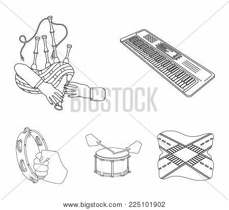 Synthesizer melodies, bagpipes Scotch and other  icon in outline style. drum, drum roll, tambourine in hand icons in set collection.