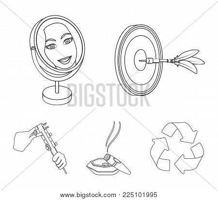 Game Darts, reflection in the mirror and other  icon in outline style. Cigar in ashtray, calipers in hands icons in set collection.