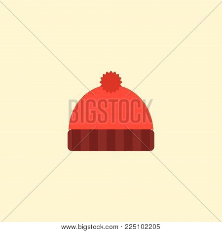 Knitted hat icon flat element. Vector illustration of knitted hat icon flat isolated on clean background for your web mobile app logo design.