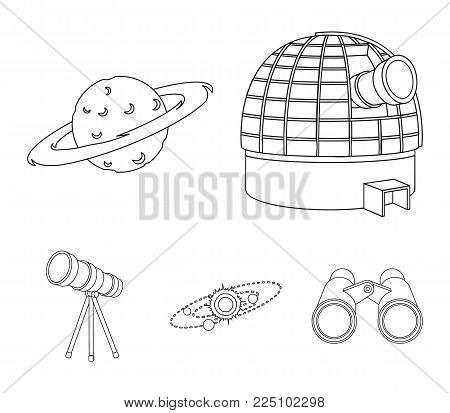 Observatory with radio telescope, planet Mars, Solar system with orbits of planets, telescope on tripod. Space set collection icons in outline style vector symbol stock illustration web.