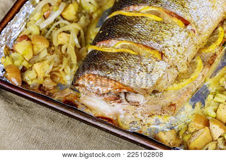Baked salmon in an oven with different spices Salmon fillets baked in oven served with vegetables