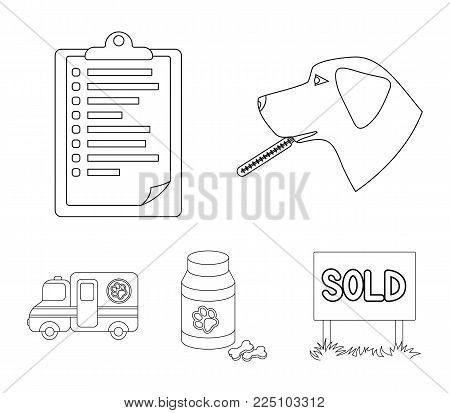 Hospital, veterinarian, dog, thermometer .Vet Clinic set collection icons in outline style vector symbol stock illustration .