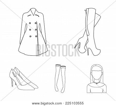 Women's high boots, coats on buttons, stockings with a rubber band with a pattern, high-heeled shoes. Women's clothing set collection icons in outline style vector symbol stock illustration web.