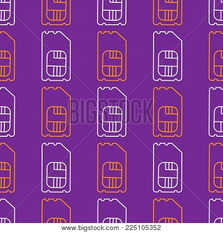 Vector SIM Cards Seamless Pattern on purple Background.