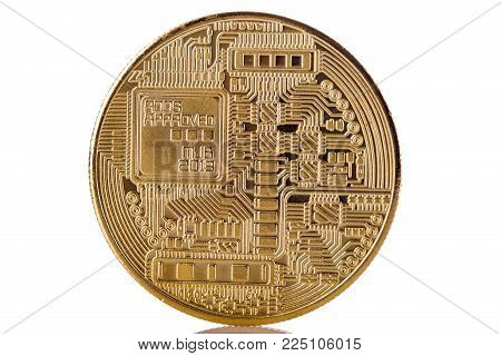 Golden Backside from Bitcoin on bright background