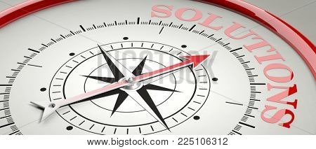 Solution concept. Compass red arrow pointing at red letters word Solution. 3d illustration