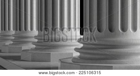 Marble pillars building detail. Classical columns of white ornate marble, close up view. 3d illustration