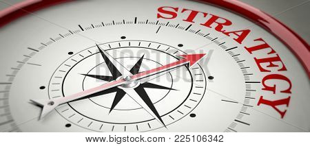 Strategy concept. Compass red arrow pointing at red letters word Strategy. 3d illustration